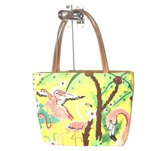 Beaded flamingo handbag with sequins